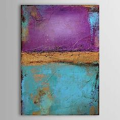 Abstract Oil Painting Hand-Painted Canvas Wall Art Other Artists One Panel Ready to Hang – USD $ 63.99
