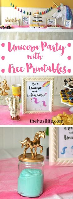 Unicorn Party with Free Printables - a simple yet memorable party for the unicorn lover in your life with free printables they will love! - thekusiflie.com via @thekusilife