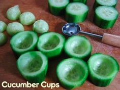 Tuna Salad Cucumber Cups: After School Snacks. You have the cucumber cups AND cucumber balls. 2 in 1 snack! Appetizer Recipes, Snack Recipes, Cooking Recipes, Fun Appetizers, Think Food, I Love Food, Tapas, Cucumber Cups, Cucumber Ideas