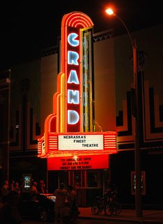 The restored facade of the historic Grand Theatre in downtown Grand Island, Nebraska. Finally finished, it's restored to it's original 1937 look, including the new state of the art sign. Bad Marriage, Facade Lighting, Grand Island, Nebraska, How To Look Pretty, Lincoln, Light Up, Darkness, Life Is Good