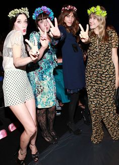 Sarah Sophie Flicker, Alia Penner, Alexa Chung & Tennessee Thomas front row at Anna Sui looking pretty in their floral headpieces- New York Fashion Week Spring 2013.