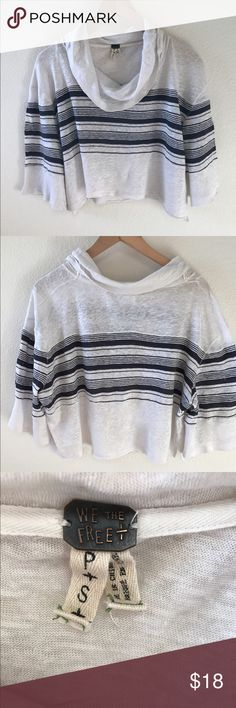 We The Free- Free People Cowl Shirt Cute light weight knit cow neck shirt in cream and blue stripes.  Bell type sleeves that are 11 1/2 in length. Free People Tops Crop Tops