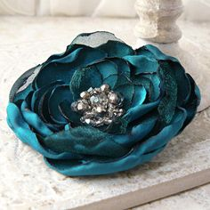 Peacock  Layered Flower Pin Brooch in Teal Turquoise ❤ by Viridian