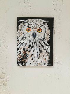Original acrylic painting Animal painting Owl painting Wall
