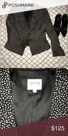 Armani Collezioni (Collections) blazer Size 6. Armani Collezioni (Collections) blazer size 6. Black with metallic print. Excellent condition. Wool, silk blend. Armani Collezioni Jackets & Coats Blazers