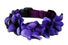 Dog Purple Collar Flower with Beads in the Middle, sizes 9 - 25 inches