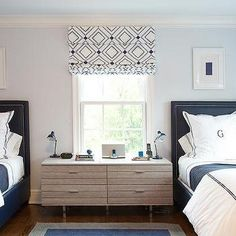 Pale Blue and Navy Blue Boys Bedroom with Monogram Bedding