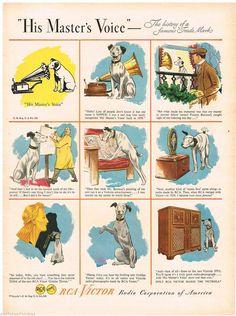 "SSV Original ""His Master's Voice"" Ad Nipper Dog 1946 Vintage Print Advertising | eBay"