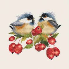 Chickadees. Too bad it's counted cross stitch. Like to convert it to needlepoint.