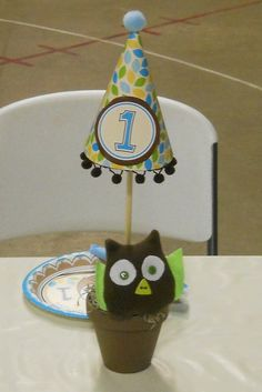 Little Owl's 1st Birthday Party Table Centerpiece by ShindigsToGo, $15.00