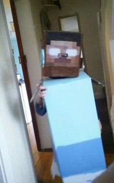 Minecraft herobrine costume made from boxes!!