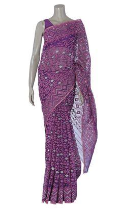 Purple and Pink Half Silk Jamdani Saree