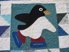 Skating Penguins Quilt by SnuggleMeDesigns on Etsy
