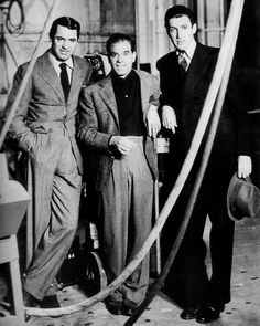 """Cary Grant visiting the set of """"Mr. Smith Goes To Washington"""" with the film's director, Frank Capra, and lead actor, James Stewart, 1939"""