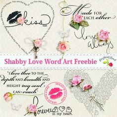 A freebie set of love inspired word arts. http://raspberryroaddesigns.net/shoppe/