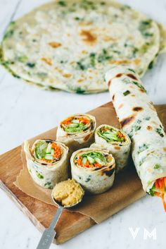 Vegan Scallion Pancake Rolls - Go light and fill vegan scallion pancake rolls with fresh salad or try something more substantial and throw in your favorite ingredient.