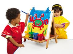 """""""What are your favorite Lakeshore Learning toys? Lakeshore Learning partnering with Busy Toddler. Toddler Easel, Lakeshore Learning, Art Easel, Wooden Easel, Painted Cups, Mobile Art, Learning Toys, Business For Kids, Painting For Kids"""