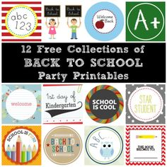 12 collections of free back to school party printables! #freeprintables #backtoschool