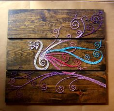 Large Peacock String Art Tablets Set of 3 boards 30 x by NineRed