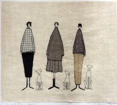 A stitched wallpiece from one of my drawings depicting 3 characterful girls with their dogs. Sewn onto natural white vintage linen and appliquéd in cotton fabrics. Made by Janine Pope of Mud Rabbit.