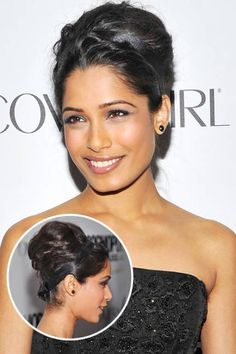 For the sophisticated bride, add a simple black headband like Freida Pinto's