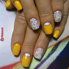 spring nails, flower nail art, floral nail art design, bright color nails nailsart is part of Wedding nails Bridesmaid Round - Wedding nails Bridesmaid Round Yellow Nails Design, Yellow Nail Art, Floral Nail Art, Cute Nail Art Designs, Short Nail Designs, Nail Designs Spring, Floral Designs, Jolie Nail Art, Beauty Nail