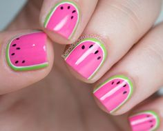 What do you get when you combine bright colors, summer, and a steady hand? The cutest watermelon nail art I've ever seen! See more of Sammy's nail art at The Nailasaurus.