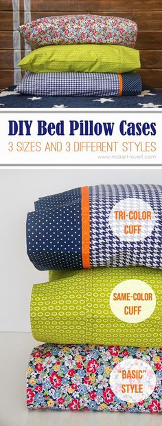 What a great way to turn a basic pillowcase into an interesting one. Add a little trim piece or a coordinating cuff piece or create a really polished pillow case on the inside, using french seams. Suc