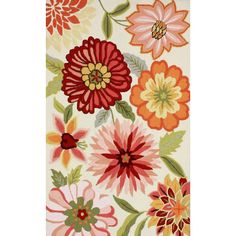 This floral rug is made of 100-percent polyester in a hooked construction for a great textured look.