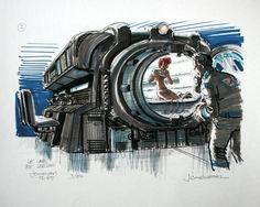 The Fifth Element: 40 Original Concept Art Gallery - Daily Art, Movie Art - Enjoy a Gallery of 40 Original Concept Art made for classic Sci-Fi movie: The Fifth Element. The gallery is featuring some work of French Artist Jean-Claud Aliens, Element Project, Classic Sci Fi Movies, Concept Art Gallery, Luc Besson, Sci Fi Comics, Ligne Claire, Fifth Element, Science Fiction Art