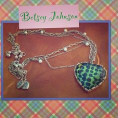 Betsey Johnson Leopard Heart & pearls necklace It's in beautiful shape! The heart is flawless, and the color is a delicious green apple! The necklace is goldtone, 3 strands, and has lovely pearls and pretty beads on the extender. Betsey Johnson Jewelry Necklaces