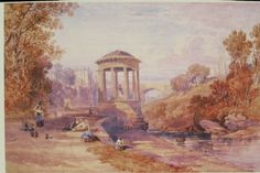 Early depiction of the Dean Valley and St Bernard's Well. The image is set in a lovely (if rather rose tinted)romantic Italian landscape style. Stockbridge Edinburgh, Garden Images, Dean, Landscape Paintings, Saints, The Past, Romantic, Edinburgh Scotland, Gardens