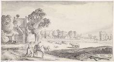 Jan van de Velde (II)   Boer met pakpaard op een landweg, Jan van de Velde (II), 1639 - 1641   Een boer met een pakpaard op een pad bij een dorp. In het midden een weide met vee en rechts op de achtergrond een ruïne (van het Huis ter Kleef te Haarlem?). Achttiende prent van een serie met 36 prenten van landschappen, verdeeld over zes delen.