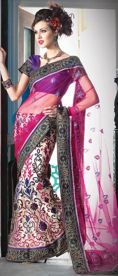 Pink and Light Beige Net Lehenga Style Saree!  @ $112.69