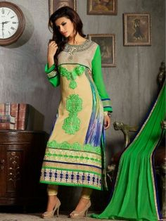 Cream And Green Georgette Suit With Resham Embroidery Work