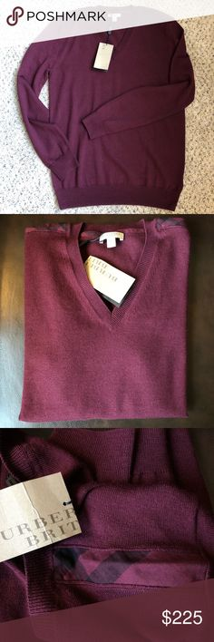 NWT-Mens Burberry Sweater in Burgundy Merino Wool New with tag - never worn!!  Beautiful merino wool sweater in a rich burgundy color. Size medium that fits true to size. V neck style with classic Burberry check detail on shoulder. Burberry Sweaters V-Neck