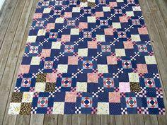 Antique Quilt Top Old Blues Primitive Colors Floral Prints Nice Vintg Cond | eBay