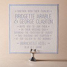 Classic Stitch Letterpress Invitation Design Small
