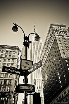 New York City USA - The Empire State Building watching Broadway and the west 34th street, Manhattan