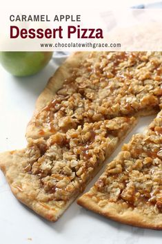 Caramel Apple Dessert Pizza – Chocolate With Grace Caramel Apple Dessert Pizza Recipe has a slightly sweet crust, with baked apples and brown sugar streusel topping. It's a perfect fall treat. and its extra easy if you use premade pizza dough. Healthy Apple Desserts, Apple Dessert Recipes, Easy Baking Recipes, Köstliche Desserts, Apple Recipes, Sweet Recipes, Delicious Desserts, Pastry Recipes, Health Desserts