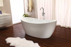 Love the shape of this tub. NEW - Modern Design Soaking Bathtub with Floor Faucet Model This newly designed 2017 model indoor modern style tub will add an updated look to any bathroom! This is a great investment for any Bathtub, Master Bathroom Design, Bathroom Interior, Master Bathroom Decor, Soaking Bathtubs, Luxury Bathroom, Refinish Bathtub, Farmhouse Master Bathroom, Bathroom Interior Design