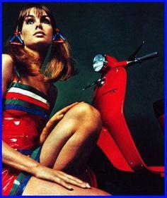 Miss Jean Shrimpton calendar girl for Lambretta Italy......Beware of fake Model Agencies, that offer work abroad -  in Hong Kong, two Punjabi India men, Ravi/Ravinder Dahiya, a failed HK garment company owner, about 45, tall, handsome, white hair, eyeglasses, & a male subordinate solicited on Lantau Island for a non-existent model agency.....#RaviDahiyaTraffickerHK