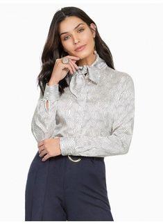 ae1cff8ec Camisa Social Feminina de Cetim Principessa Franciane