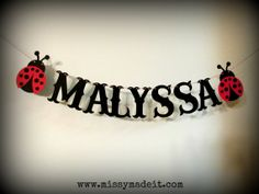 Custom Name LADYBUG Banner - My handmade banner will add a sweet touch to your birthday party, baby shower, photo shoot, cake smash and many other celebratory occasions!  by SweetPaperSprinkles, $6.00
