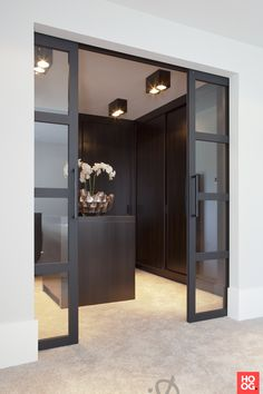 Have a spare room you're not using at home? Why not turn it into the walk-in closet you've always wanted? Check out these closet ideas to create a custom dressing room at home! Wood Barn Door, Glass Barn Doors, Interior Barn Doors, Interior And Exterior, Interior Design, Internal Bifold Doors White, Garderobe Design, Dressing Room Design, Dressing Rooms