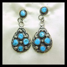 Sterling Silver and Turquoise Drop Style Earrings from lantiques on Ruby Lane