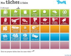 Les tâches à découper | yoopa.ca Chores For Kids, Activities For Kids, Family Matters, Flylady, Life Organization, Kids And Parenting, Montessori, Positivity, Messages
