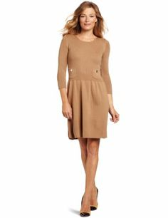 c417656ece7 Anne Klein Women's 1x1 Rib And Flat Bord Dress, Beige, Medium Pocket Detail,