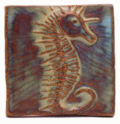 Seahorse Ceramic Handmade Tile, Emutile