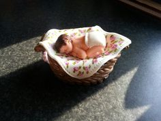 Baby in wash basket Bassinet, Cake Toppers, Cakes, Baby, Home Decor, Homemade Home Decor, Crib, Newborn Babies, Cot